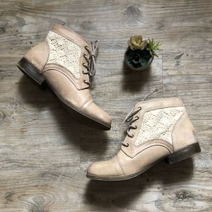 Mossimo Supply Co. Crochet Ankle Boots in Taupe